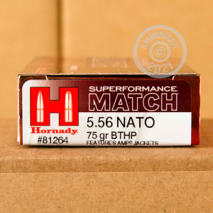 Photograph showing detail of 5.56X45 HORNADY SUPERFORMANCE MATCH 75 GRAIN HPBT (20 ROUNDS)