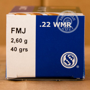 rounds of .22 WMR ammo with FMJ bullets made by Sellier & Bellot.