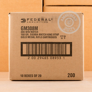 A photograph of 500 rounds of 168 grain 308 / 7.62x51 ammo with a Hollow-Point Boat Tail (HP-BT) bullet for sale.