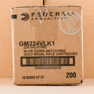 Photo detailing the 224 VALKYRIE FEDERAL GOLD MEDAL 90 GRAIN BTHP (20 ROUNDS) for sale at AmmoMan.com.