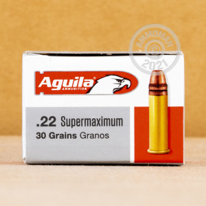 Photograph of .22 Long Rifle ammo with copper plated round nose ideal for hunting varmint sized game, training at the range.