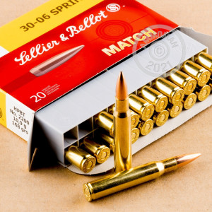 A photograph of 20 rounds of 168 grain 30.06 Springfield ammo with a Hollow-Point Boat Tail (HP-BT) bullet for sale.
