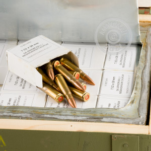 A photograph of 1260 rounds of 124 grain 7.62 x 39 ammo with a FMJ bullet for sale.