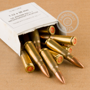 A photograph detailing the 7.62 x 39 ammo with FMJ bullets made by Military Surplus.
