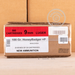 A photo of a box of Black Hills Ammunition ammo in 9mm Luger.