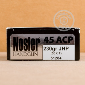 A photo of a box of Nosler Ammunition ammo in .45 Automatic.
