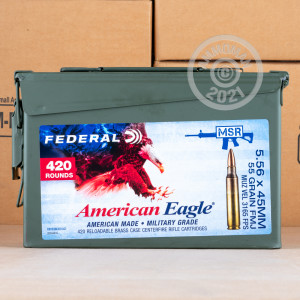 Photograph showing detail of 5.56X45 FEDERAL AMERICAN EAGLE 55 GRAIN FMJBT XM193 (420 ROUNDS IN AMMO CAN)