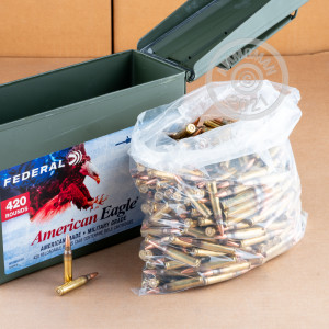 Photo detailing the 5.56X45 FEDERAL AMERICAN EAGLE 55 GRAIN FMJBT XM193 (420 ROUNDS IN AMMO CAN) for sale at AmmoMan.com.