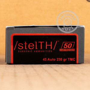 A photograph detailing the .45 Automatic ammo with TMJ bullets made by Stelth.