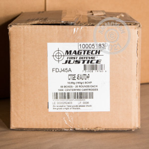 Image of .45 Automatic ammo by Magtech that's ideal for home protection.