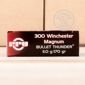 A photograph of 20 rounds of 170 grain 300 Winchester Magnum ammo with a Pointed Soft-Point (PSP) bullet for sale.