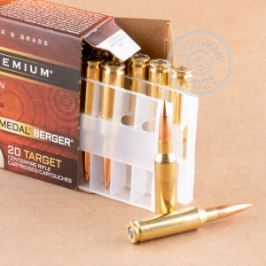 Photo detailing the 6.5MM CREEDMOOR FEDERAL GOLD MEDAL BERGER 130 GRAIN HYBRID OTM (20 ROUNDS) for sale at AmmoMan.com.