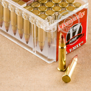 rounds of 17 HMR ammo with V-MAX bullets made by Hornady.