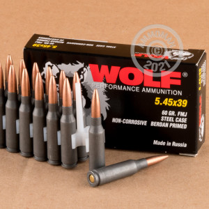 Photo of 5.45 x 39 Russian FMJ ammo by Wolf for sale.