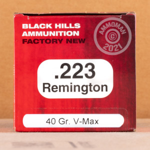 A photo of a box of Black Hills Ammunition ammo in 223 Remington.