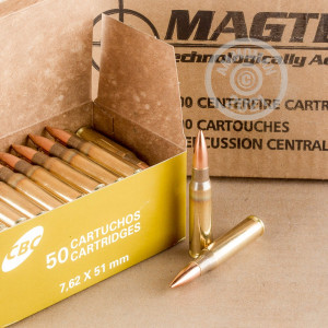 An image of 308 / 7.62x51 ammo made by Magtech at AmmoMan.com.