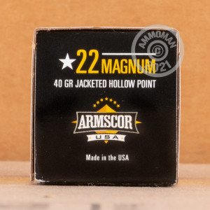 rounds of .22 WMR ammo with JHP bullets made by Armscor.