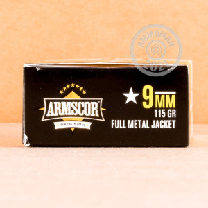 Image of 9mm Luger ammo by Armscor that's ideal for training at the range.