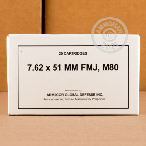 A photograph detailing the 308 / 7.62x51 ammo with FMJ bullets made by Armscor.