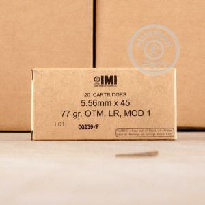 Image of 5.56x45mm ammo by Israeli Military Industries that's ideal for precision shooting, training at the range.