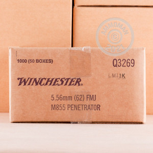 Photo detailing the 5.56 NATO WINCHESTER M855 62 GRAIN FMJ (20 ROUNDS) for sale at AmmoMan.com.