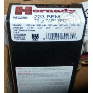 Image of 223 Remington ammo by Hornady that's ideal for home protection, hunting varmint sized game.