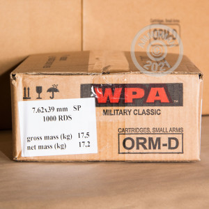 Image of 7.62 x 39 ammo by Wolf that's ideal for home protection, training at the range.