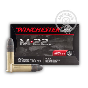 rounds of .22 Long Rifle ammo with Copper Plated Round Nose bullets made by Winchester.