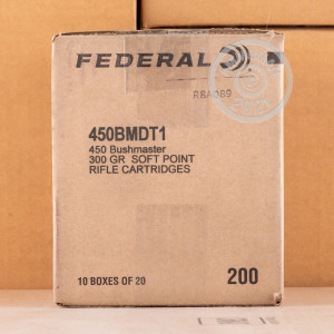 Photo detailing the 450 BUSHMASTER FEDERAL NON-TYPICAL 300 GRAIN JHP (200 ROUNDS) for sale at AmmoMan.com.