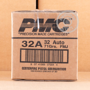 Image of .32 ACP ammo by PMC that's ideal for training at the range.