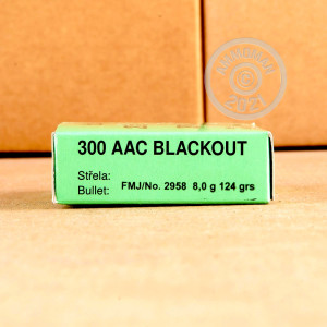Photograph showing detail of 300 AAC BLACKOUT SELLIER & BELLOT 124 GRAIN FMJ (20 ROUNDS)