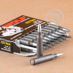 Photograph showing detail of 223 REM WOLF PERFORMANCE 75 GRAIN HP (1000 ROUNDS)