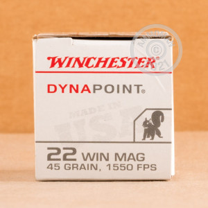 rounds of .22 WMR ammo with copper plated hollow point bullets made by Winchester.