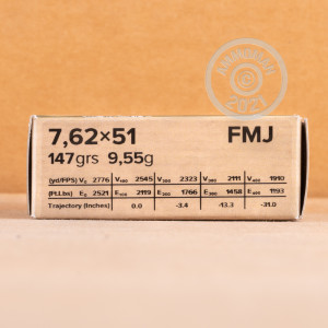 A photograph detailing the 308 / 7.62x51 ammo with FMJ bullets made by Sellier & Bellot.