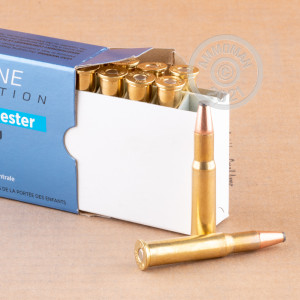 A photograph detailing the 30-30 Winchester ammo with flat soft point bullets made by Prvi Partizan.
