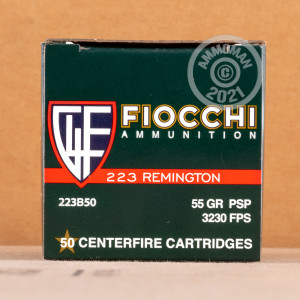 Photo detailing the 223 REM FIOCCHI 55 GRAIN PSP (500 ROUNDS) for sale at AmmoMan.com.