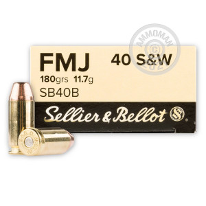 Image of Sellier & Bellot .40 Smith & Wesson pistol ammunition.