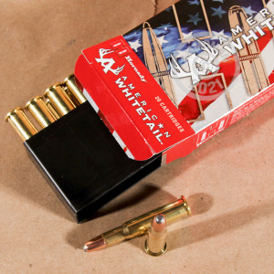 A photograph detailing the 30-30 Winchester ammo with Round Nose Soft Point (RNSP) bullets made by Hornady.