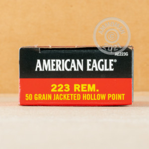 Photograph showing detail of 223 REMINGTON FEDERAL AMERICAN EAGLE 50 GRAIN JHP (20 ROUNDS)