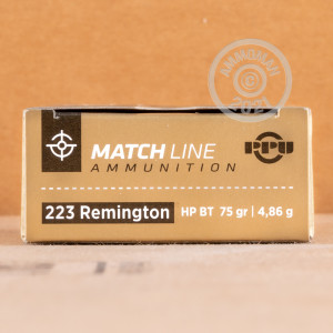A photograph detailing the 223 Remington ammo with Hollow-Point Boat Tail (HP-BT) bullets made by Prvi Partizan.