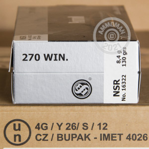 Image of the 270 WIN SELLIER & BELLOT 130 GRAIN NOSLER PARTITION (20 ROUNDS) available at AmmoMan.com.