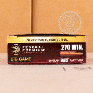 A photograph detailing the 270 Winchester ammo with soft point bullets made by Federal.