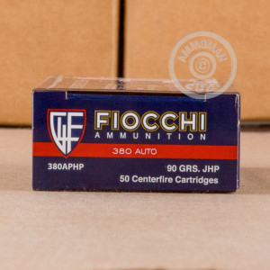 A photograph detailing the .380 Auto ammo with JHP bullets made by Fiocchi.