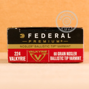 Photo detailing the 224 VALKYRIE FEDERAL 60 GRAIN NOSLER BALLISTIC TIP (200 ROUNDS) for sale at AmmoMan.com.