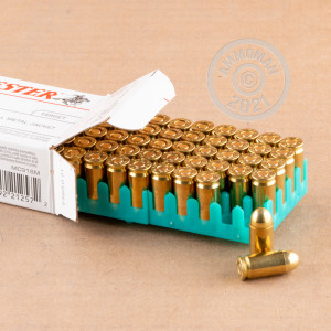 A photograph detailing the 9x18 Makarov ammo with FMJ bullets made by Winchester.