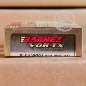 A photograph of 20 rounds of 150 grain 30.06 Springfield ammo with a TTSX BT bullet for sale.
