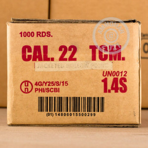 A photograph of 50 rounds of 40 grain .22 TCM ammo with a JHP bullet for sale.