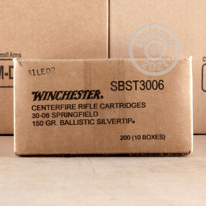 Image detailing the nickel-plated brass case on the Winchester ammunition.