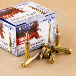 Image of 5.56X45 FEDERAL AMERICAN EAGLE 55 GRAIN FMJBT XM193 (500 ROUNDS)