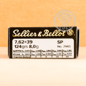 Image of 7.62 x 39 ammo by Sellier & Bellot that's ideal for whitetail hunting.